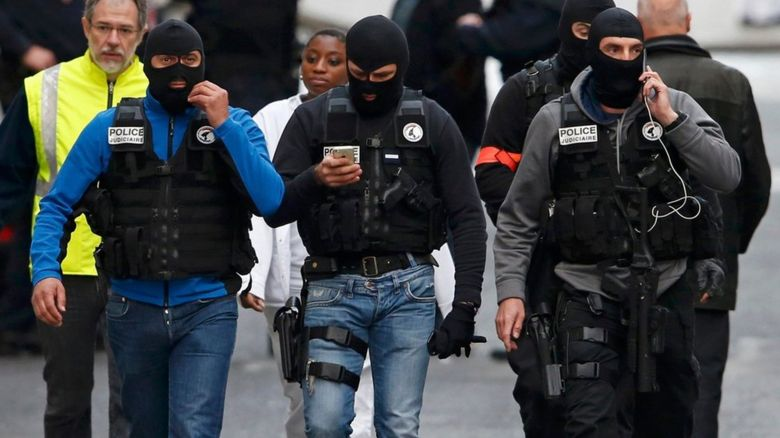 Masked police in Paris