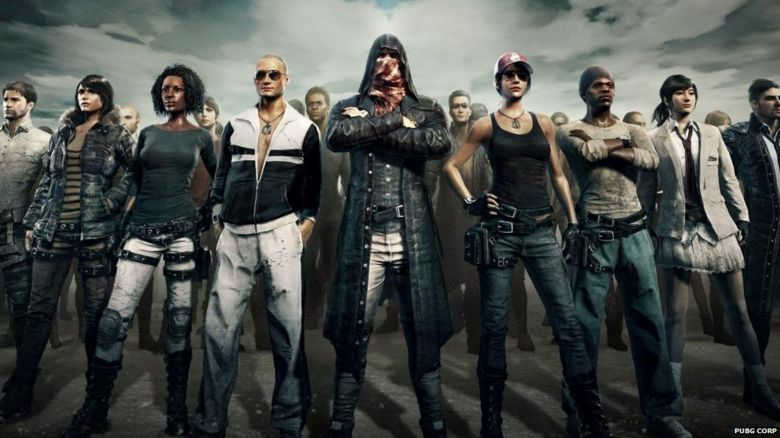 PUBG characters standing in a line