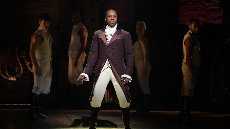 Actor Leslie Odom Jr. on stage in the Broadway version of Hamilton