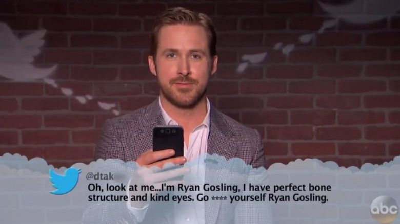 Ryan Gosling reading a mean tweet