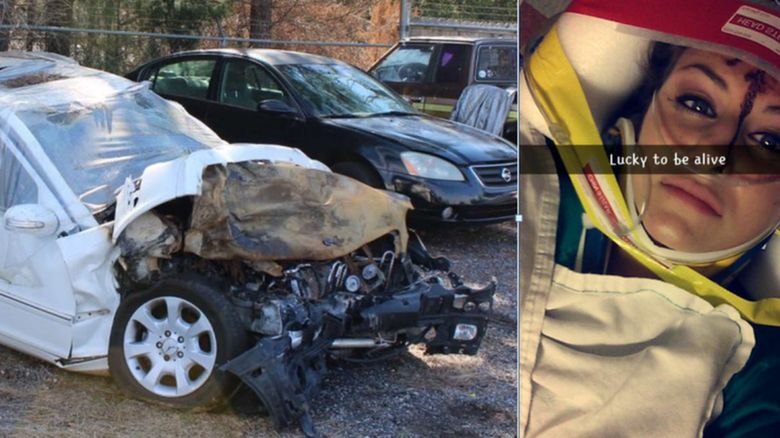 Christal McGee's post on Snapchat and a picture of her car destroyed by the crash