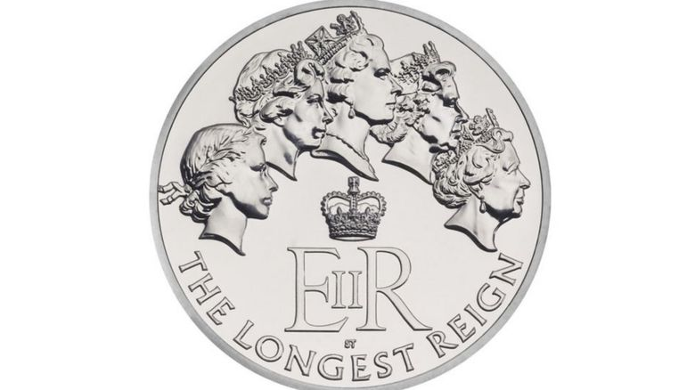 The commemorative coin depicting the Queen through her reign that has been unveiled to mark her becoming the longest reigning monarch in British history
