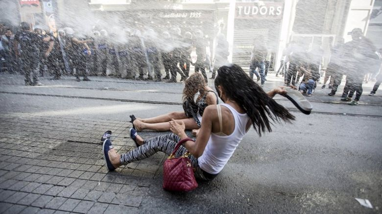 Gay pride protestors in Istanbul