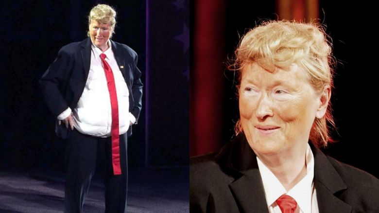 Meryl Streep impersonates Donald Trump by wearing fake tan and a padded belly