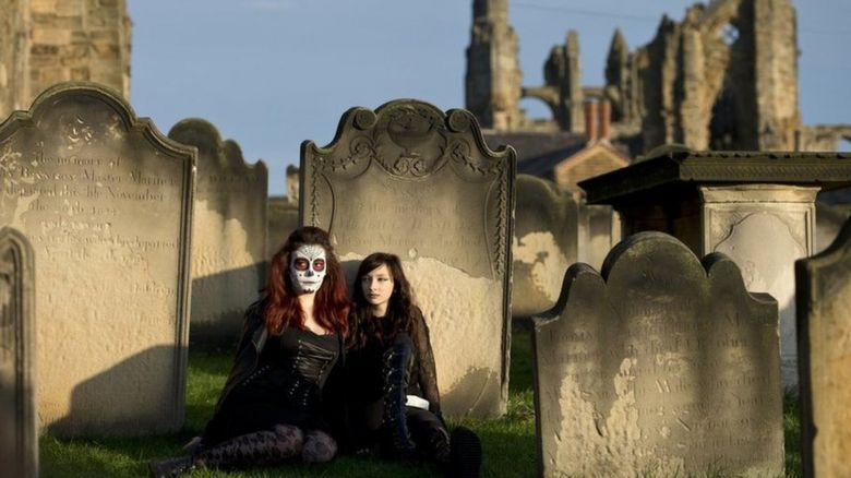Goths in Whitby graveyard