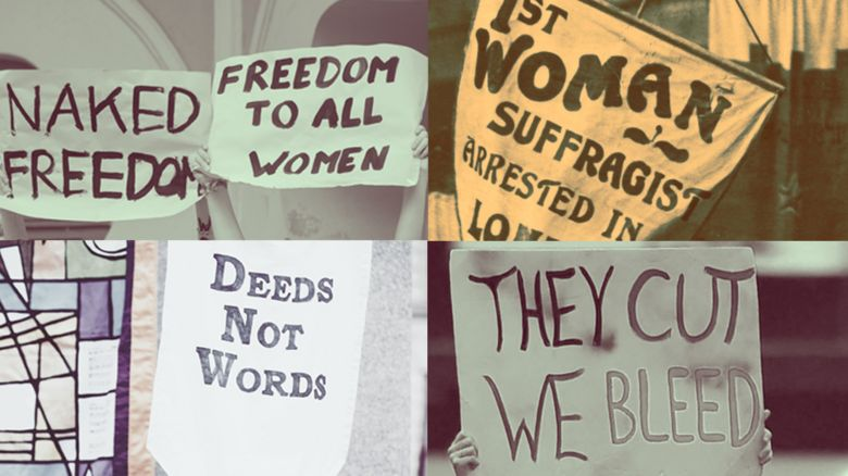 Feminist placards from the 1900s - and the last five years