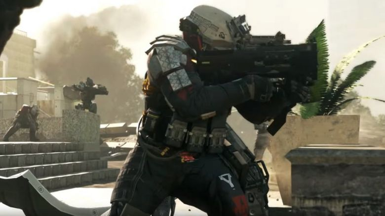 Gameplay showing a soldier shooting a gun