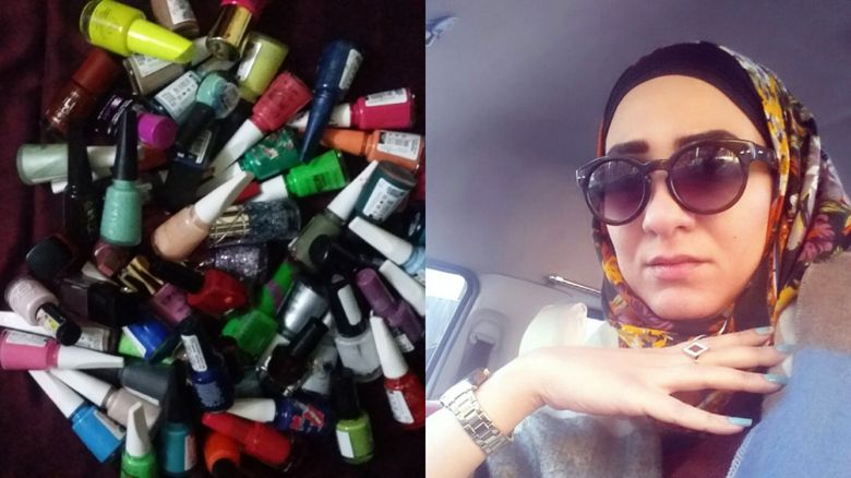 Vian and her nail polish collection