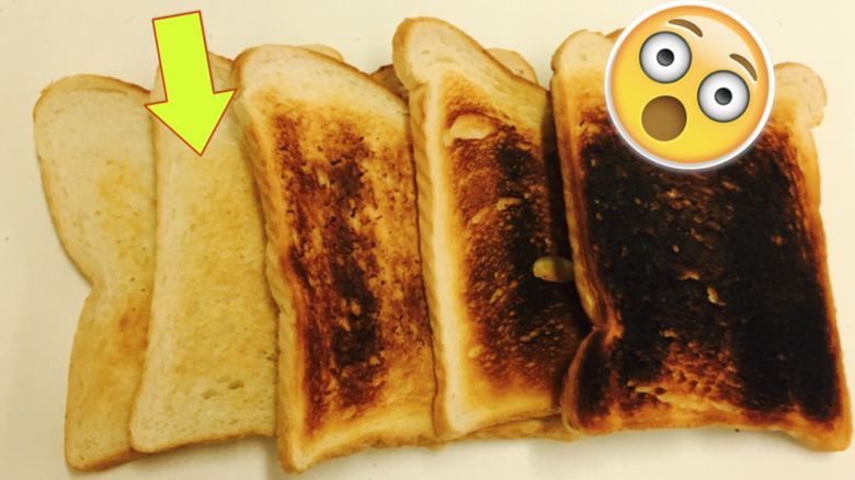 Different colours of toast
