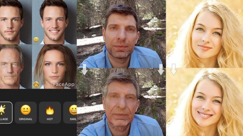 Screenshots from FaceApp