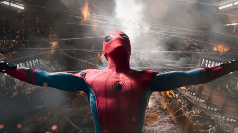 This is a photo of Spider-Man taken from the up and coming Spider-Man film.