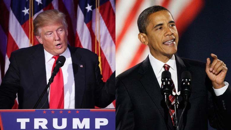 Trump and Obama at their acceptance speeches