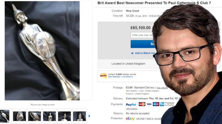 S Club 7's Paul Cattermole has listed his Brit Award on eBay