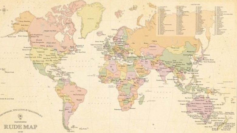 This is a photo of a map of the rudest place names in the world