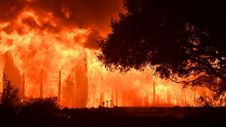 The main building at Paras Vinyards burns in the Mount Veeder area of Napa in California on October 10, 2017.