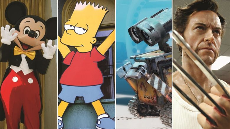 Mickey Mouse, Bart Simpson, Wall-E and Wolverine