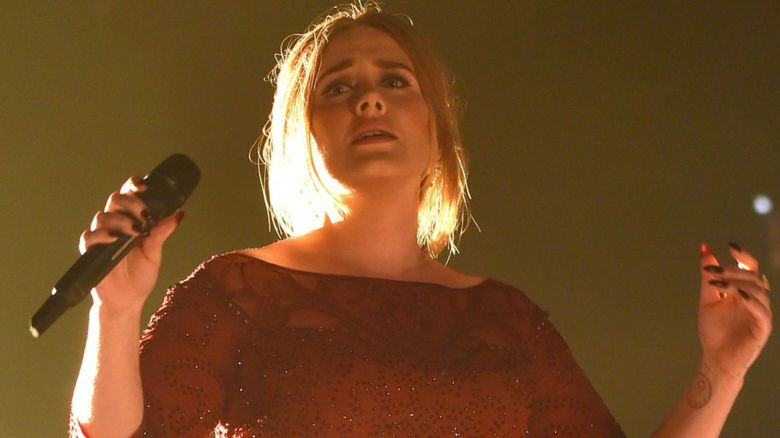 Adele performing at the Grammy Awards