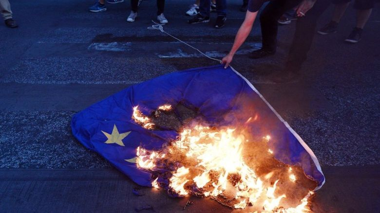 EU flag being burnt
