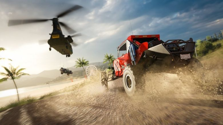 A car races a helicopter in Forza Horizon 3
