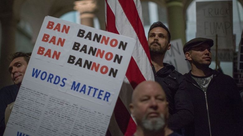 Protests at Steve Bannon, President Trump's chief strategist