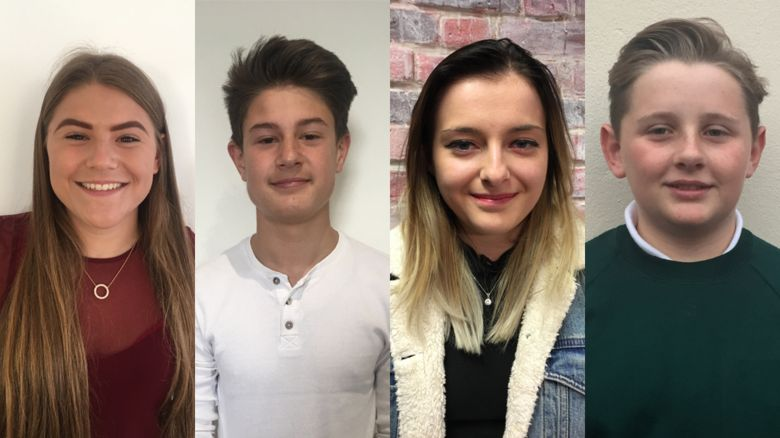 The four winners: Holly, Oliver, Charlotte and Harrison