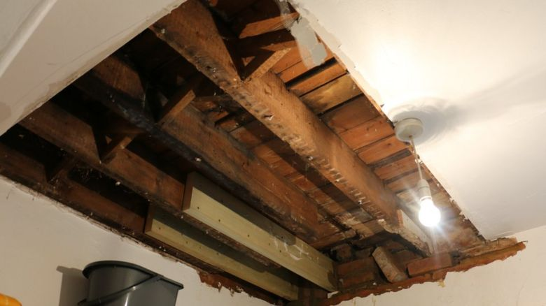 Building work to fix the leak in Georgina's kitchen ceiling