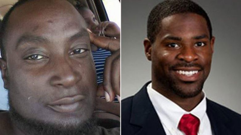 Keith Lamont Scott (L) and Officer Brently Vinson