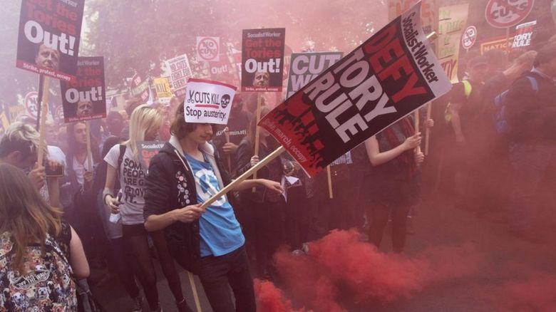 Austerity march in London