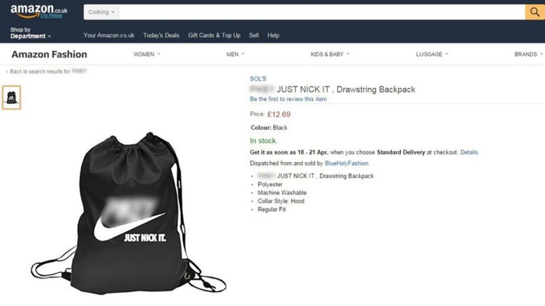 Screengrab of Amazon draw string bag for sale (offensive language blurred)