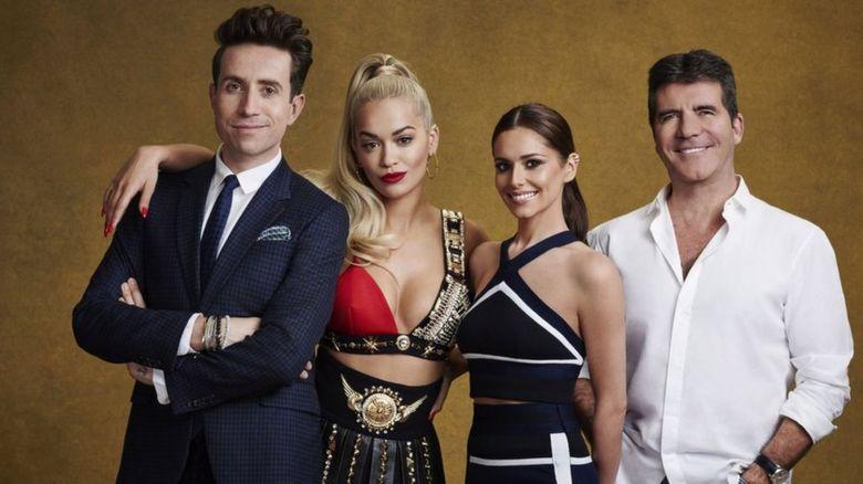 Nick Grimshaw, Rita Ora, Cheryl Fernandez-Versini and Simon Cowel
