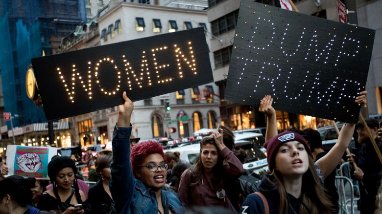 Women march outside Trump Tower ahead of Donald Trump's election