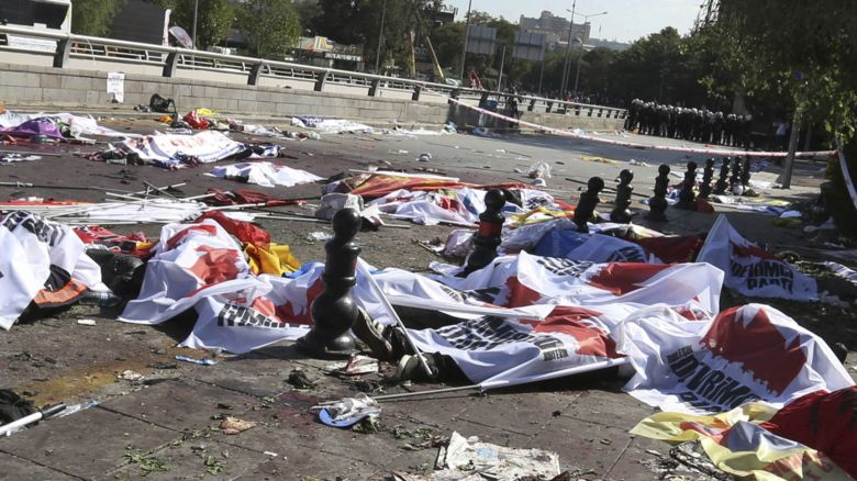 Bodies in the street after the explosion