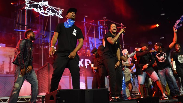 This is a photo of Wiley and Chipmunk performing on the Grime stage at Red Bull Culture Clash.