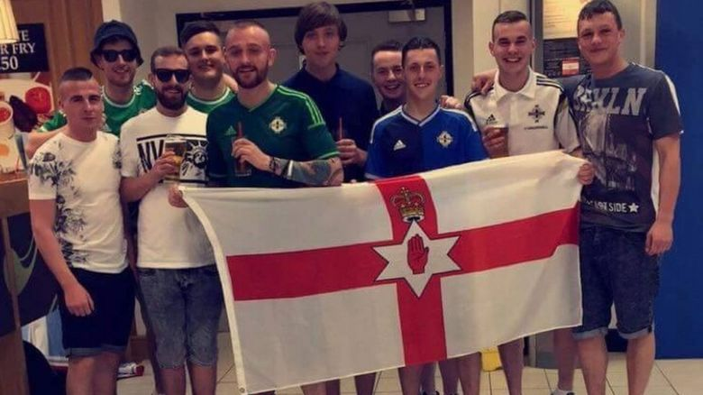 Alan Drennan and his friends at Belfast Airport