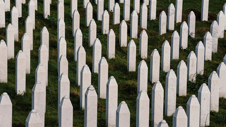 Gravestones at the memorial centre of Potocari near Srebrenica