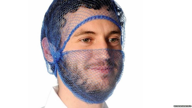 The type of beard nets worn by food workers