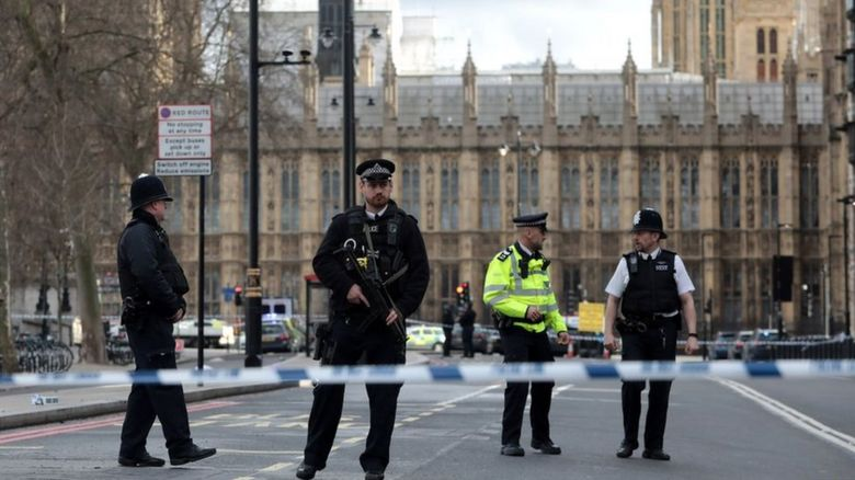 Policemen outside Westminster