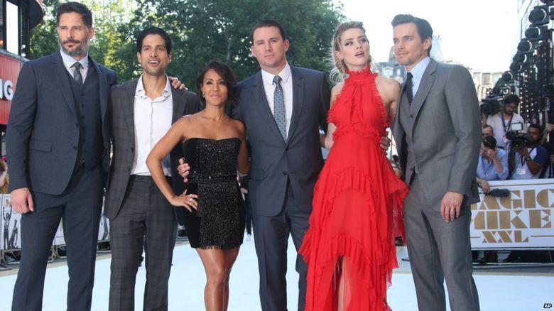 From left, Joe Manganiello, Adam Rodriguez, Jada Pinkett Smith, Channing Tatum, Amber Heard and Matt Bomer