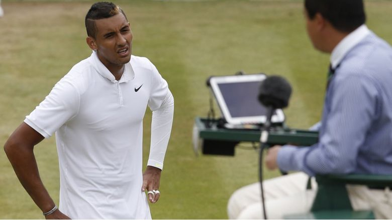 Nick Kyrgios argues with the umpire at Wimbledon