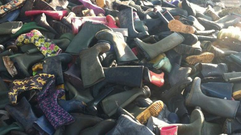 Discarded wellies from Glastonbury Festival