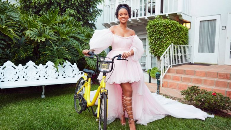 Picture of Rihanna on a bike