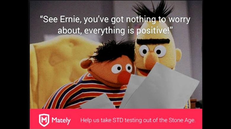 Bert and Ernie as they appeared in the advert for Mately