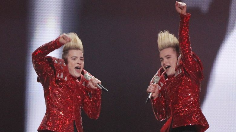 Jedward performing at the Eurovision Song Contest 2011