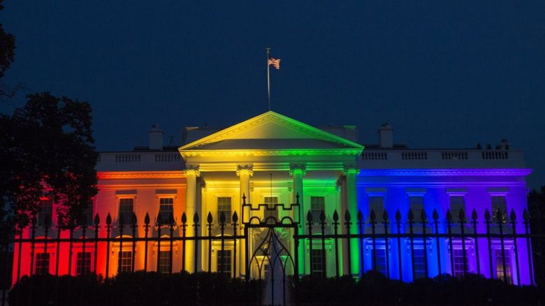 The White House in rainbow colours
