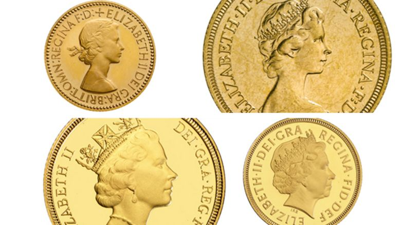 The Queen on coins in 1953, 1974, 1985, 1998