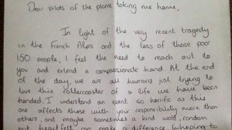 Bethanie's letter to pilots