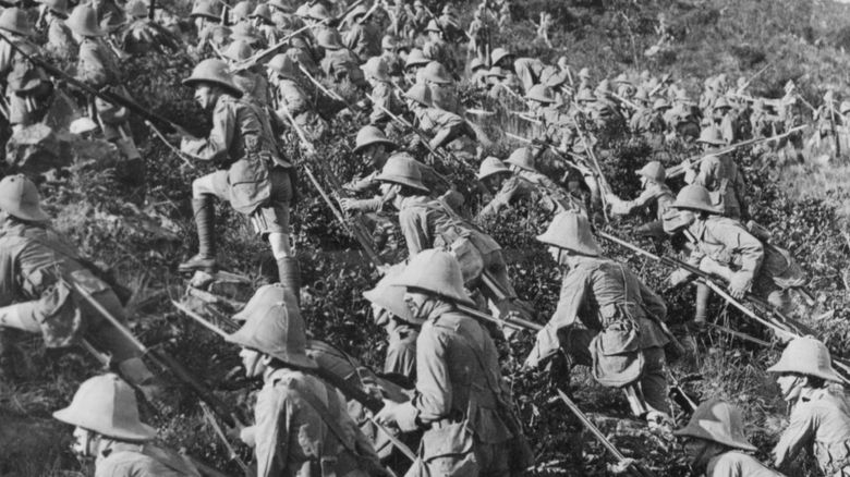 Troops storming a hill in Gallipoli