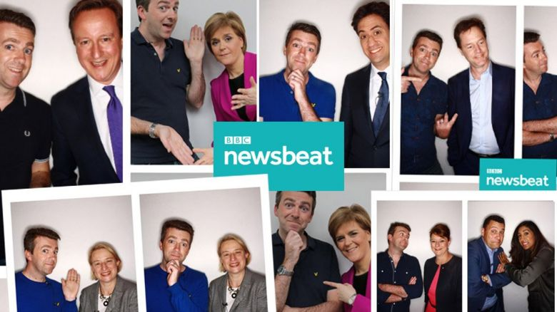Six leaders plus a spokesman for UKIP in the Newsbeat photo booth