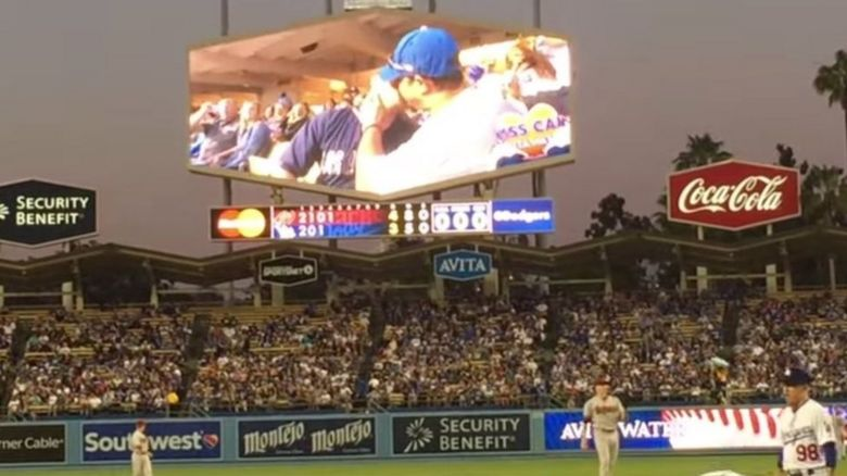 The kiss cam moment