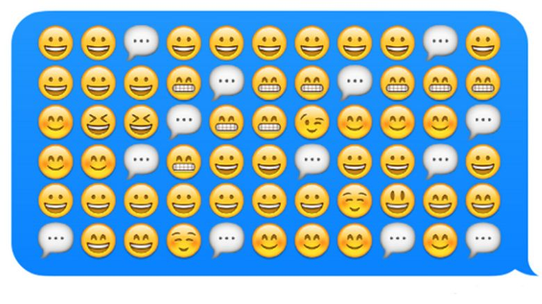 A row of smiling emojis with speech bubbles